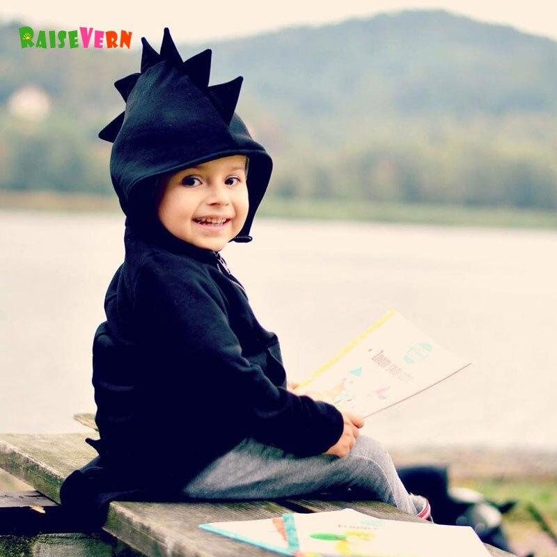 Милый динозавр зуб для маленьких девочек Куртка с воротником для мальчиков с длинными рукавами с персонажами из мультфильмов верхняя одежд...