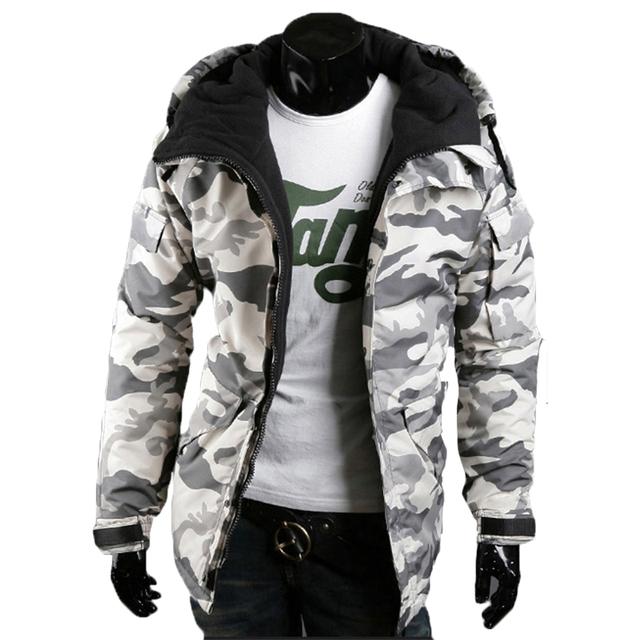 Outono Inverno Fino Casaco Com Capuz Homens Jaquetas Padrão de Camuflagem Militar Tático Casaco De Lã De Algodão de Moda Slim Fit Sobretudo