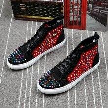 Marque punk rivet chaussures casual rivet hommes bottes réel en cuir marque hommes chaussures punk bottes rouge unique marque mocassins conception