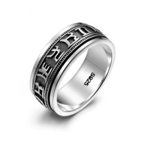 Graduation Rings fingerring Vintage 925 Sterling Silver signet rings Jewelry Double rotation lord of the rings for men