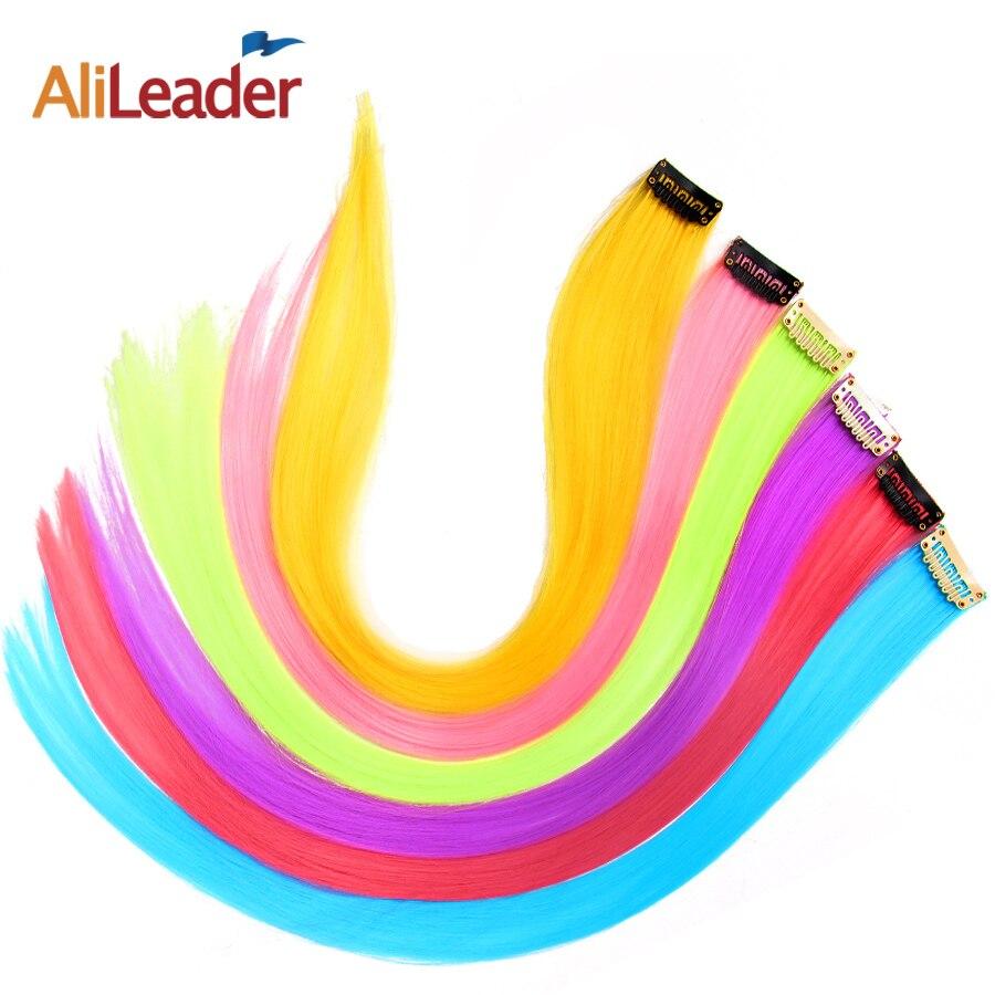 Alileader длинные прямые для женщин синтетический клип в пряди волос Радуга цвета одна деталь шиньон фиолетовый розовый красные, синие