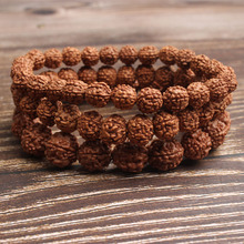 LanLi 6/8/10mm Fashion natural Jewelry light tan rudraksha beads bracelet be fit for men and women  Accessories amulets