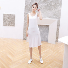 New Summer Womens Modal Dress in The Long Paragraph Female Bottoming Lining A Sleeveless Shirt Loose Outer Wear Vest dress