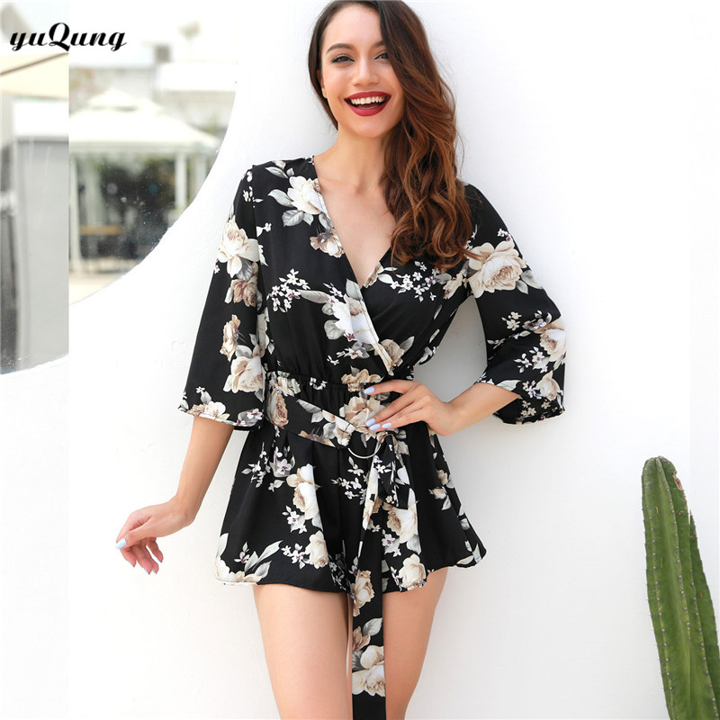 900546043c yuqung Summer Floral Print Playsuits Elastic Waist sash Short Jumpsuit Women  Sexy v neck Romper Beach Girls Short Overalls P52