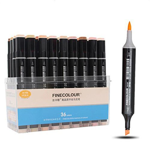 Finecolour Double-Ended Brush Manga Markers 12/24/36 Colors Skin Tones Sketch Graphic Design for Student Artist Supplies