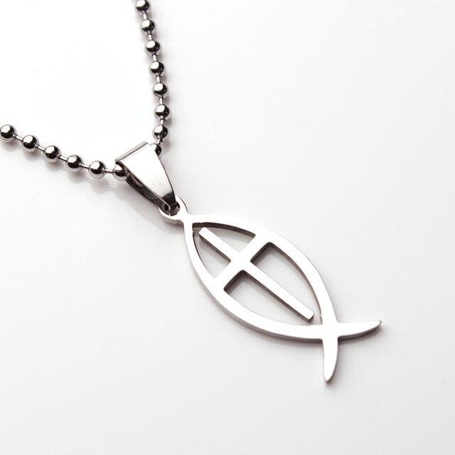 Mf1314 Titanium Steel Cross Jesus Fish Pendant Necklace Catholic