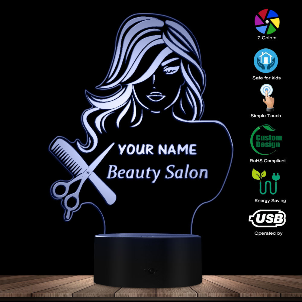 Beauty Salon Fashion Lady LED Illusion Night Light Barber Shop Hairdresser Scissor Comb Table Lamp Custom Your Name Modern Light