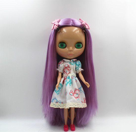 Blygirl Nude Doll Violet Straight Hair Common Body 7 Joints Tan Skin DIY Dolls can be changed bodyBlygirl Nude Doll Violet Straight Hair Common Body 7 Joints Tan Skin DIY Dolls can be changed body