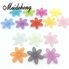 Acrylic Rich Color Transparent Frosted Flower Six Petals Daisy Sunflower Beads For Jewelry Making Earrings Material Accessories 30pc 31x28mm multi colorful acrylic flower beads big hole six petals frosted flowers beads for jewelry making garment accessory