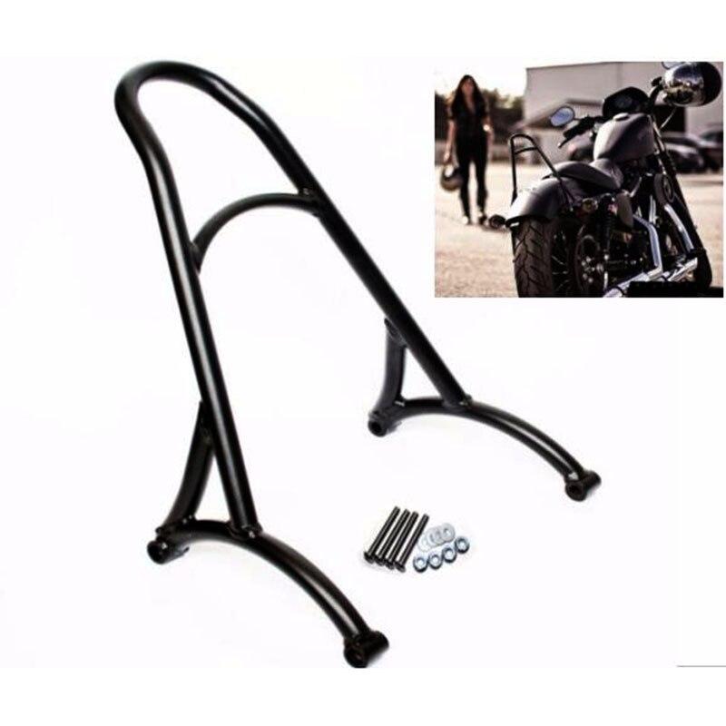 Noir moto court passager Sissy Bar dossier pour Harley Sportster XL Iron Nightster 883 1200 quarante huit 48 2004-2017 16