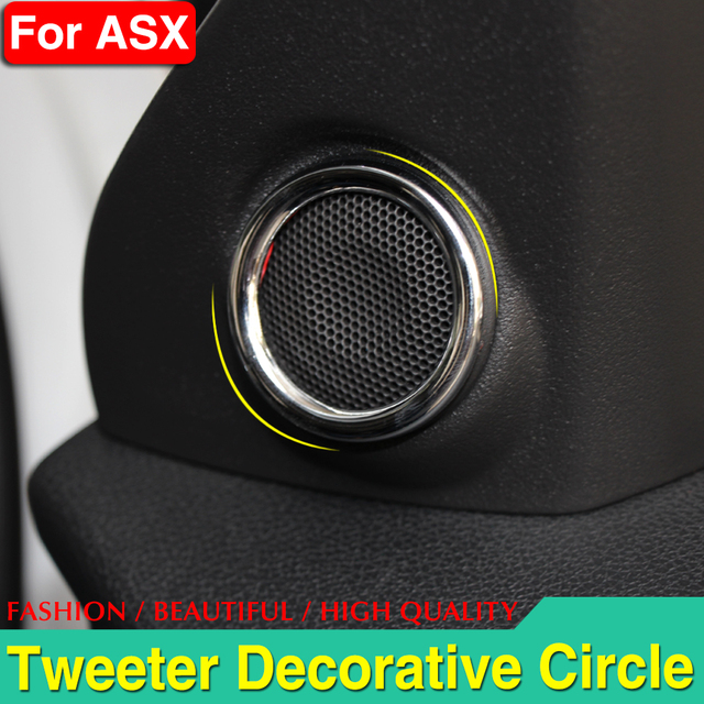 ABS chrome interior speaker ring decoration circle cover for Mitsubishi ASX 2011-2013 auto accessories