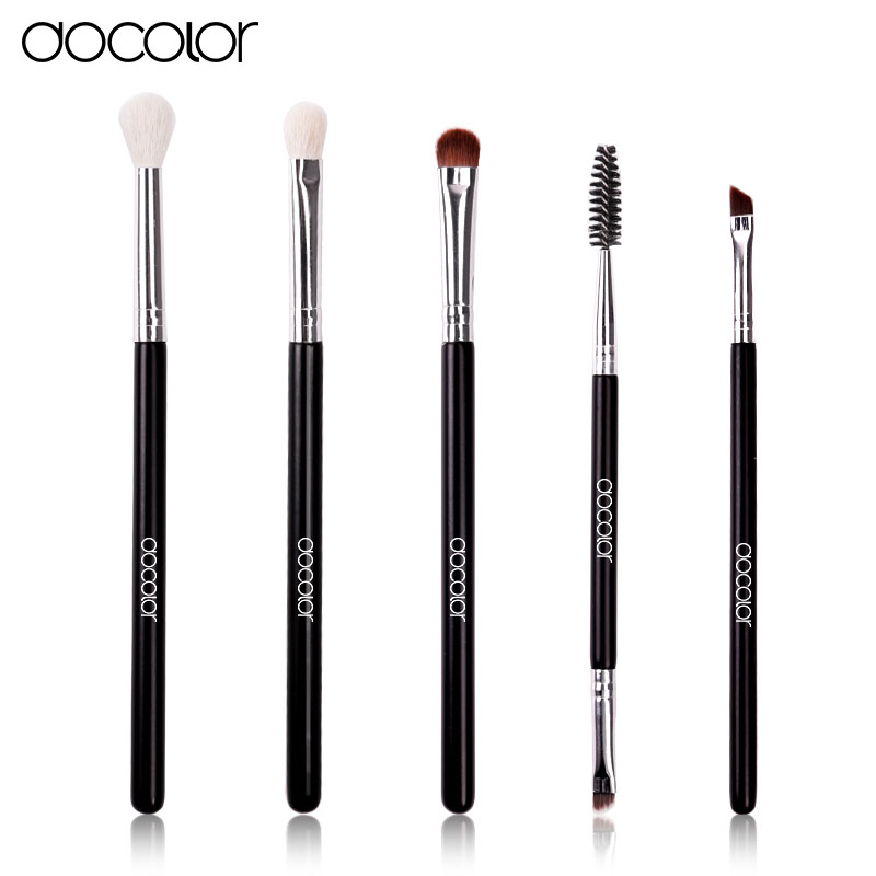 Docolor 5Pcs/set Professional eye Makeup Brushes Set top goat and synthetic hair Cosmetics Face Eyeshadows Brush Kit pincel