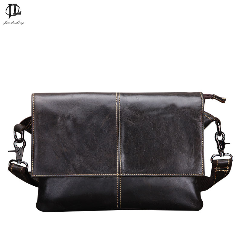 Nuevo Retro Oil Wax Genuine Leather Men's Classic Small Messenger - Bolsos