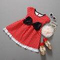 Бесплатная доставка 2015 новый red dot лук Минни платье кружевном платье Летние девушки одеваются