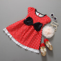 Free shipping 2015 new red dot bow Minnie dress lace dress Summer girls dress