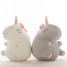 Hot 1pc 25cm unicorn plush toy fat unicorn doll cute animal stuffed soft pillow baby kids toys for girl birthday christmas gift(China)