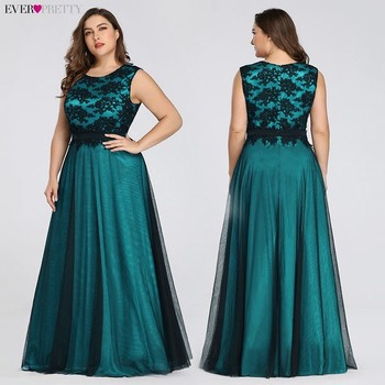 Plus Size 2020 Prom Dresses Long Ever Pretty EZ07545 Elegant Burgundy Lace Applique Tulle Sexy Dark Green Gala Dress for Wedding 2