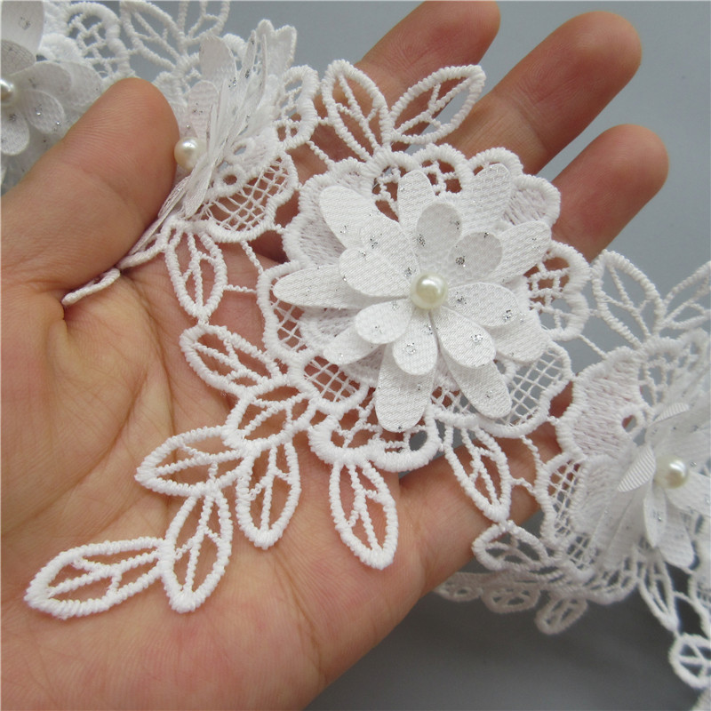 """Kiddo 1.25/"""" White Ivory Embroidered Corded Pearl Beaded Floral Lace Trim by Yard"""