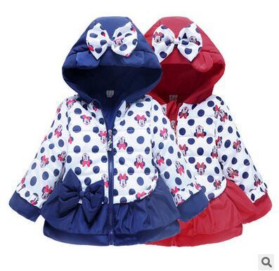 New winter gril jacket bowknot cartoon coat cotton-padded clothes children's coat children's clothing