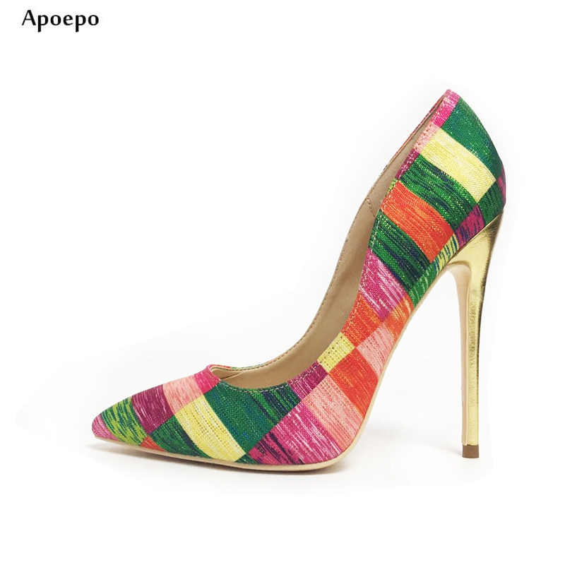New 2018 Printed Silk Material High Heel Shoes 12CM Pointed Toe Shallow Mouth Thin Heels Shoe for Womam Slip-on Dress Heels New 2018 Printed Silk Material High Heel Shoes 12CM Pointed Toe Shallow Mouth Thin Heels Shoe for Womam Slip-on Dress Heels