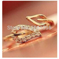 2016 new (or) two anti – Drilling retro leaves – Korean female couple rings free shipping