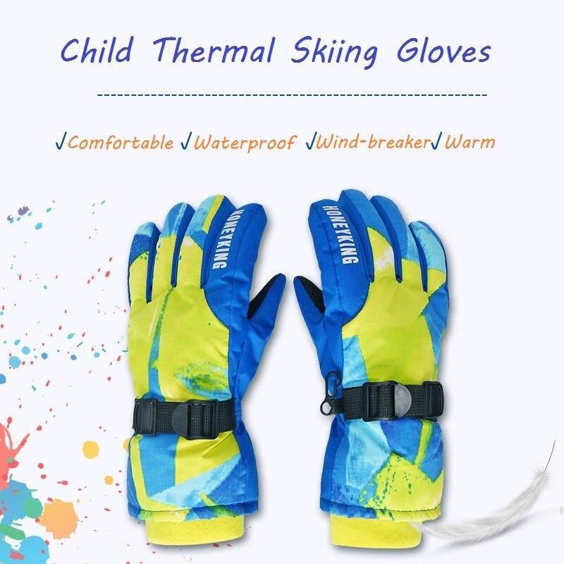 Kids Ski Gloves Child Snow Mittens Winter Thicken Warm Mitts Comfy Sports Gloves