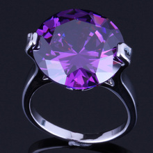 Glowing Round Purple Cubic Zirconia 925 Sterling Silver Ring For Women V0079