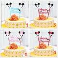 1 компл. микки маус тема пирожня топпер торт флаги душа ребенка детский день рождения ну вечеринку поставки торт выпечки ну вечеринку декоративные