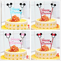 1set mickey mouse theme cupcake cake topper cake flags baby shower child birthday party supplies cake baking party decorative