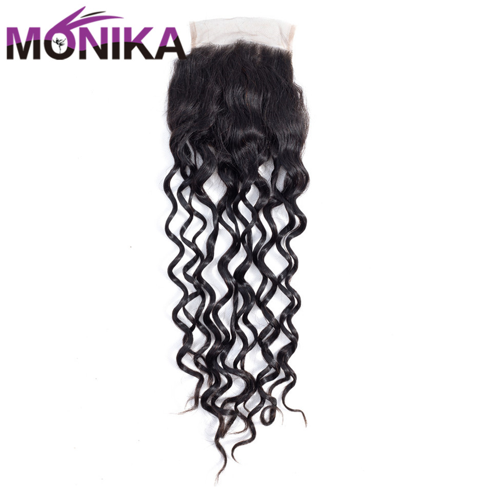 Monika Hair Brazilian Water Wave 4x4 Lace Closure 8-22 Non-Remy Hair Closure Water Wave Natural Wave