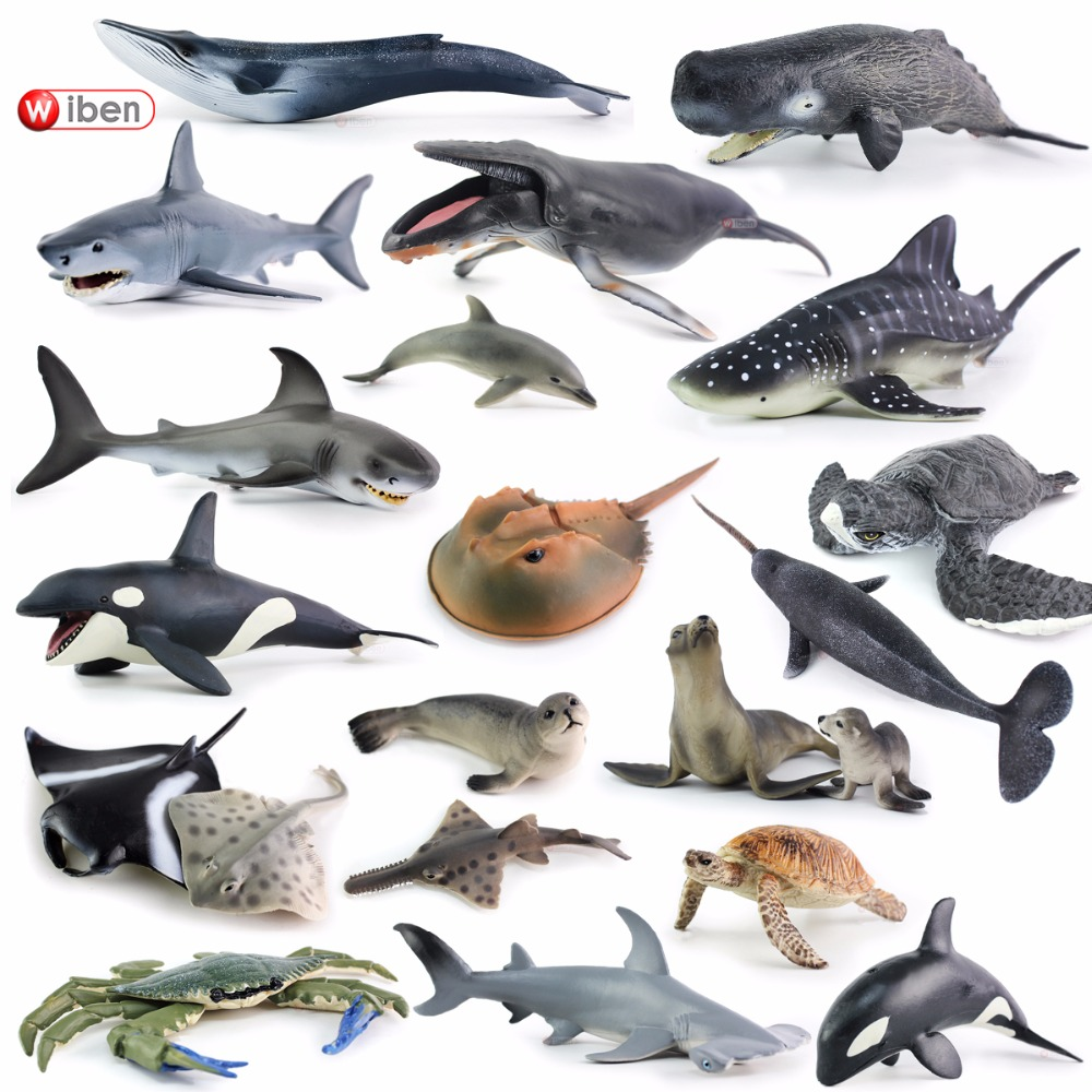 Sea Life Simulation Animal Model Great Shark Whale Turtle Crab Dolphin Action Toy Figures Educational Collection Gift For Kids