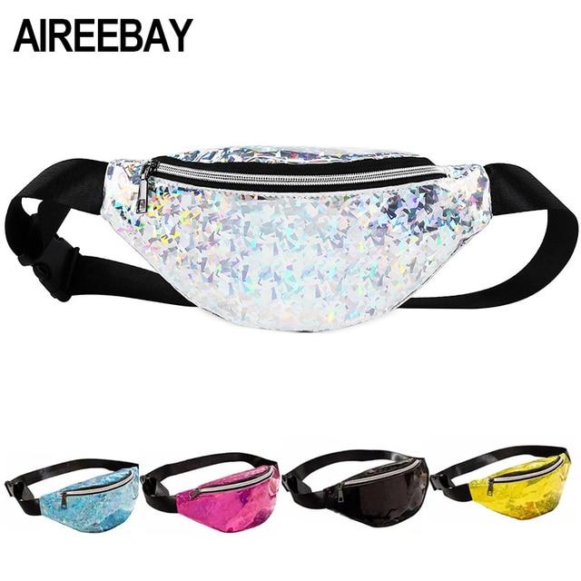 AIREEBAY Women Fashion Waist Bag Hologram Fanny Pack Waterproof Waist Packs  Laser Silver Unisex holographic Chest Bags for Girls 58de8d68c96b