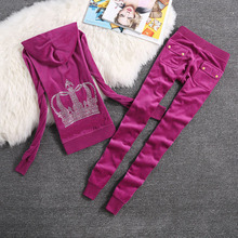 Brand Sweatsuit Velvet Fabric Tracksuits Velour Outfits Hoodies Tops and Sweat Pants Set S  XL