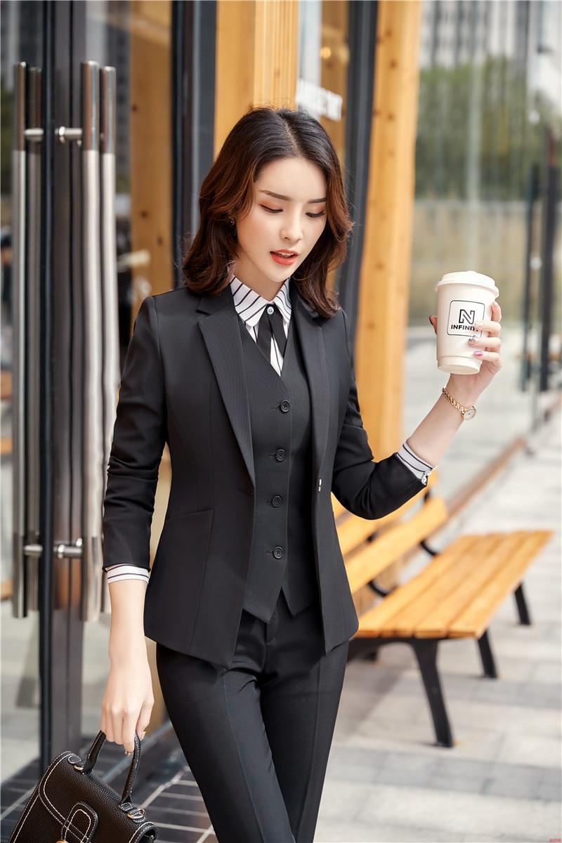 ab4276740aaa Disegni Delle Usura Donne Uniformi Nero 2 Giacche Abiti Di Tailleur 1  Elegante Signore Del Lavoro Bellezza Autunno Formale Affari Primavera  Pantalone ...