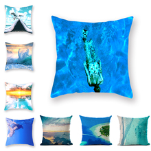 Marine Theme Print Cushion Cover Deep Sea Diving Sea View Single Piece Pattern Open-air Blue Square Pillowcase By The Sea home office leisure outdoor rattan daybed with white cushion to sea port by sea