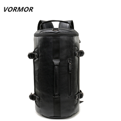 VORMOR Personality Large Size Round Leather Mens Travel Bag Fashion Rolling Travel Backpack For Man Famous Brand Duffel Bag