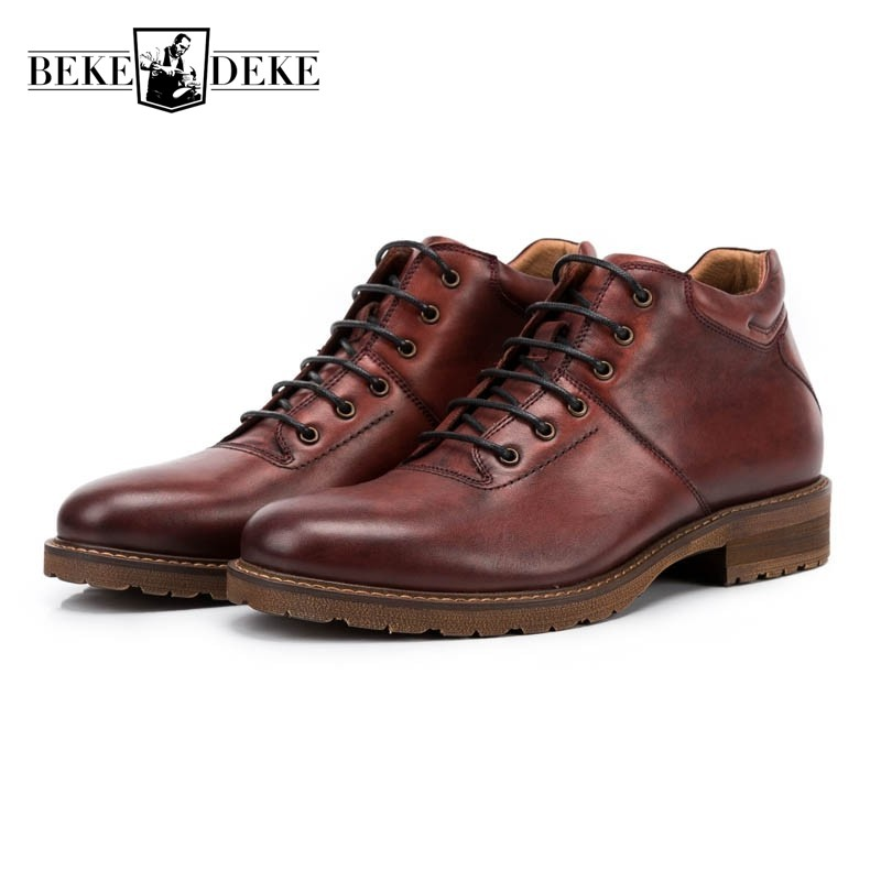Retro Men Winter Genuine Leather Work Safety Botas Casual Lace Up High Top Ankle Boots Vintage Man Footwear Block Low Heel Shoes northmarch brand ankle snow boots men shoes genuine leather winter fashion cow motocycle casual boot male high top flat botas
