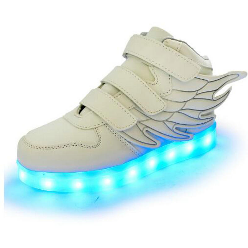 DDAYXXUAN Store New USB Charging Led Children Shoes With Light Up Kids Casual BoysGirls Luminous Sneakers Glowing Shoe HookLoop