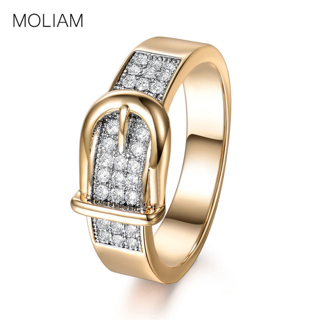 MOLIAM Fashion Belt Design Womens Rings Accessories Gold-Color Copper Cubic Zirc
