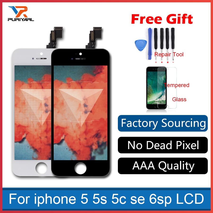 Per il iphone 5 5 s 5c SE 4 s 6 s Plus Display LCD Touch schermo Completo di Ricambio Per Il Telefono Mobile Incrinato il Vetro AAA Grade 4 s LCD