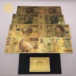Лидер продаж 8 видов конструкций Цветной золото Фольга лак Банкноты набор 50 100 200 500 PLN для Partriotism ремесла Коллекция