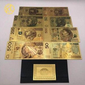 HOT 8 Designs Colored Gold Foil Polish Banknote Set 50 100 200 500 PLN for Partriotism Crafts Collection