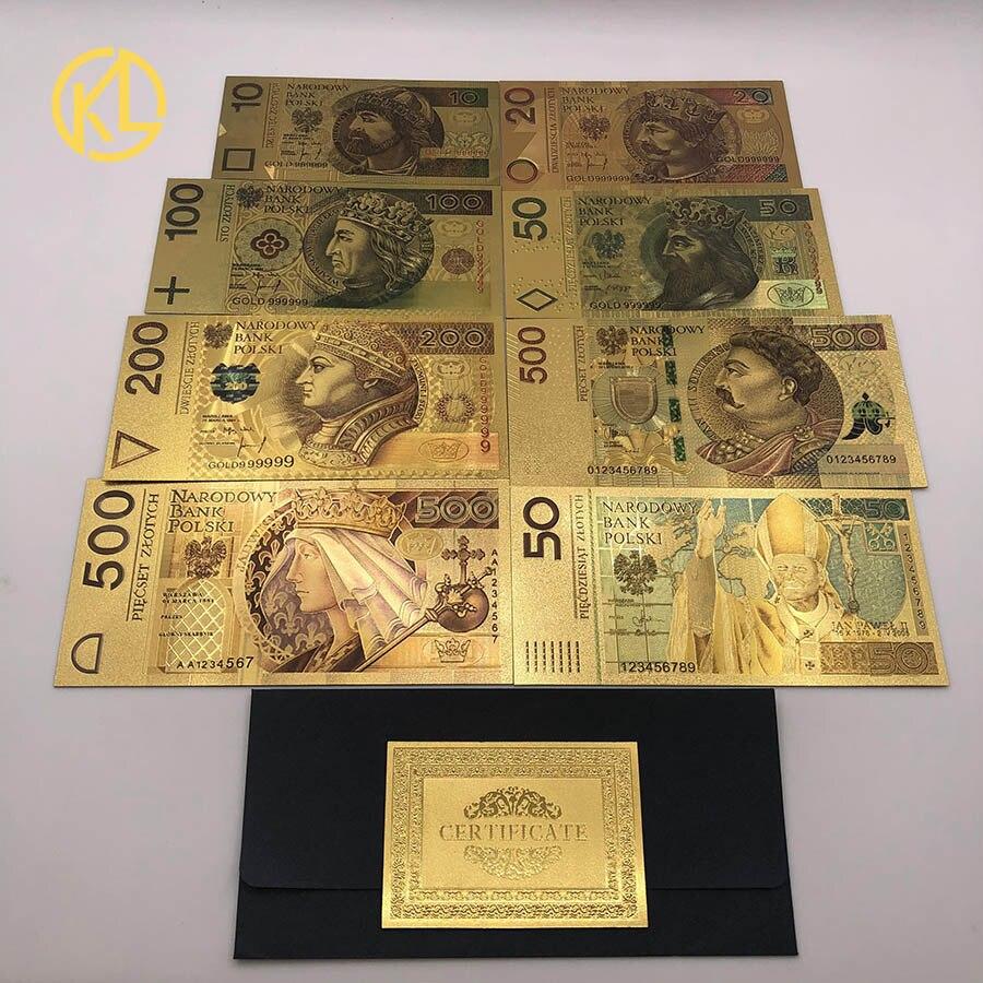 HOT 8 pçs/set Colorido Folha de Ouro Polonês Conjunto De Notas 50 100 200 500 PLN para partriotism artesanato coleção