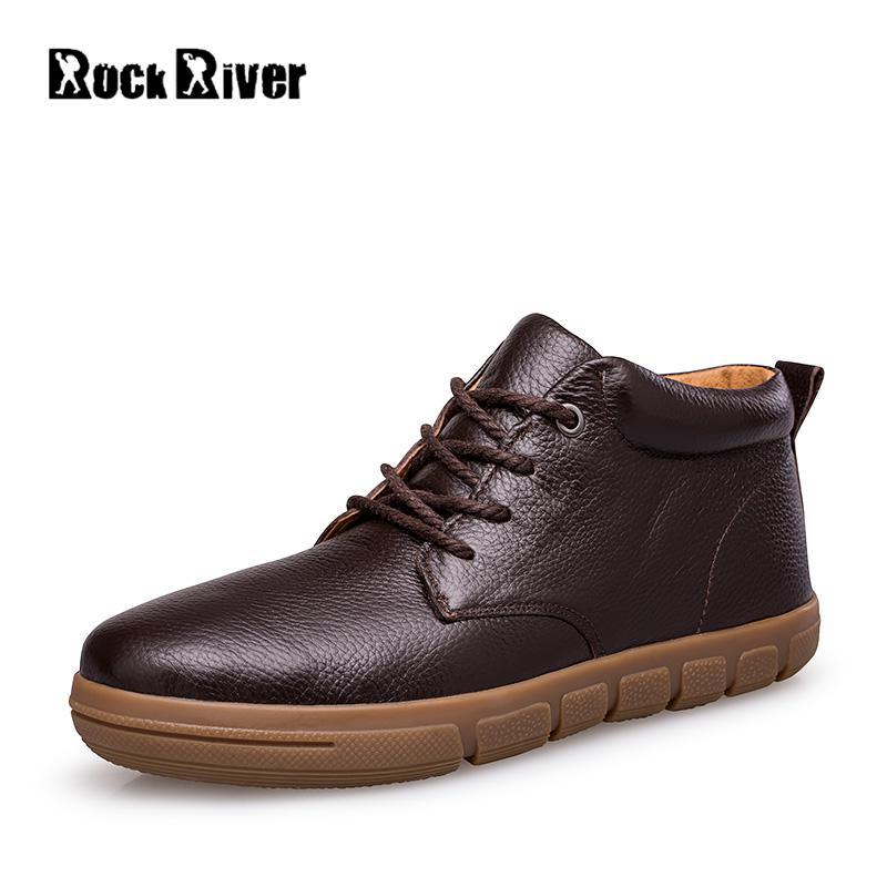 2018 Genuine Leather Men Winter Boots Waterproof Men Snow Boots Casual Warm Winter Shoes Men Black Brown Men Boots Plus Size 48