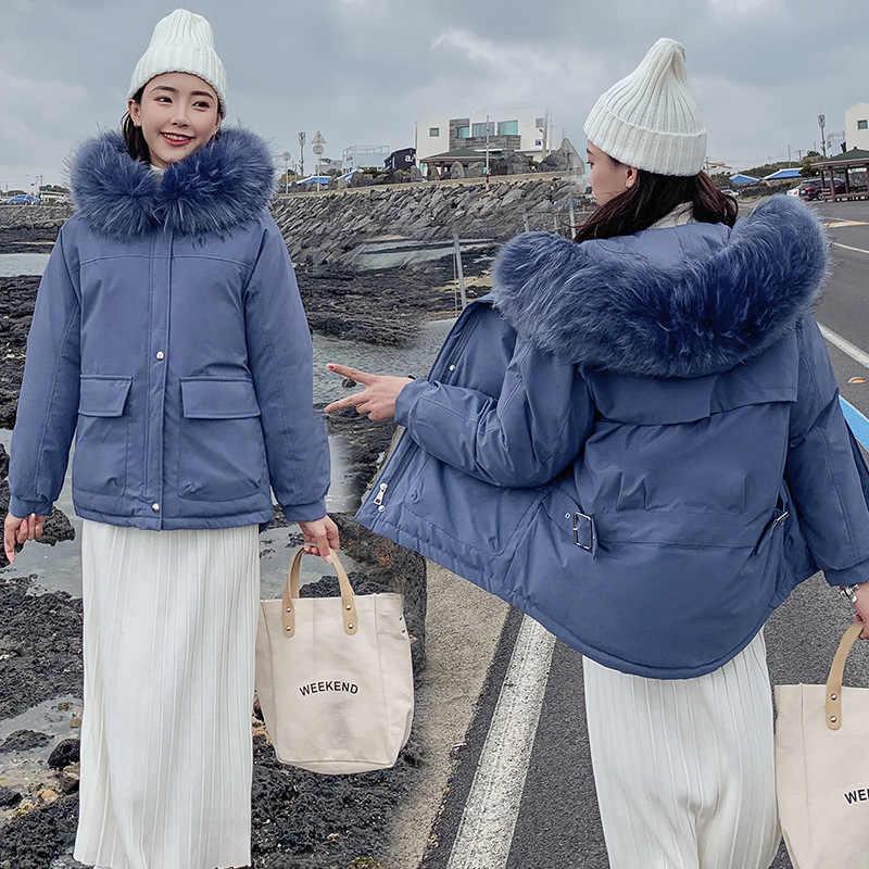 ลง parka ผู้หญิงใหม่ chic ฤดูหนาวเสื้อขนสัตว์ขนาดใหญ่เสื้อแจ็คเก็ตหลวม 819