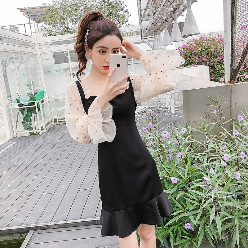 2019 New Spring French Romantic Black Mini Dress Dot Transparent Long Sleeve Mermaid Dress Women Fishtail Sexy Party Vestidos 4