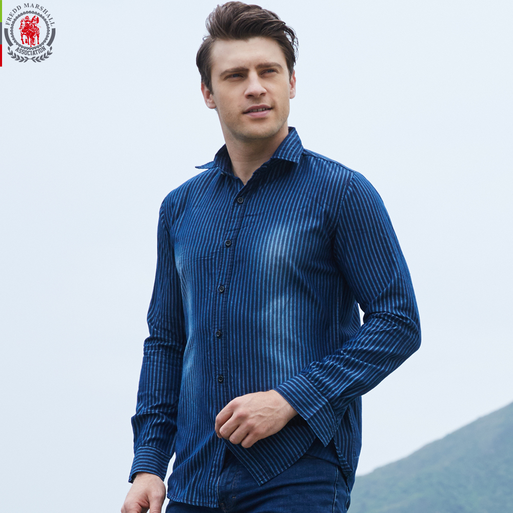 Europe size men 39 s denim striped shirt new dress shirts for Mens dress shirt sleeve length