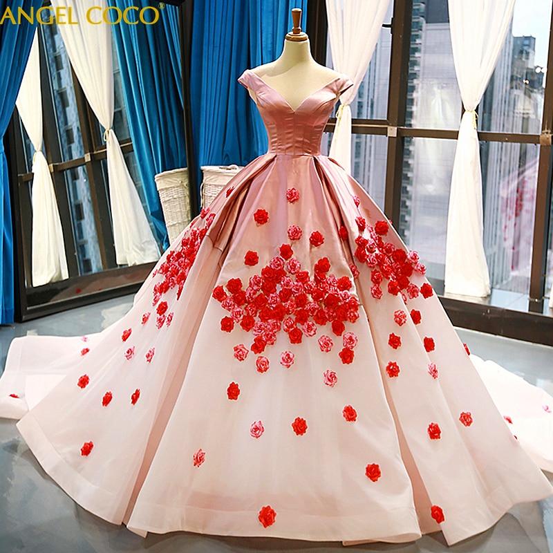 Настоящая фотография бальное платье изготовление размеров под заказ белый красный принцесса 3D с цветочной аппликацией элитное вечернее пл