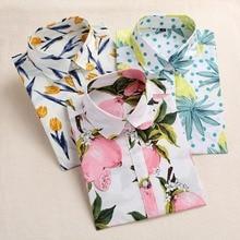Dioufond Lemon Floral Print Summer Blouse Women Shirt Long Sleeve Cotton Blouse Turn Down Collar Women Tops And Blouses Fashion