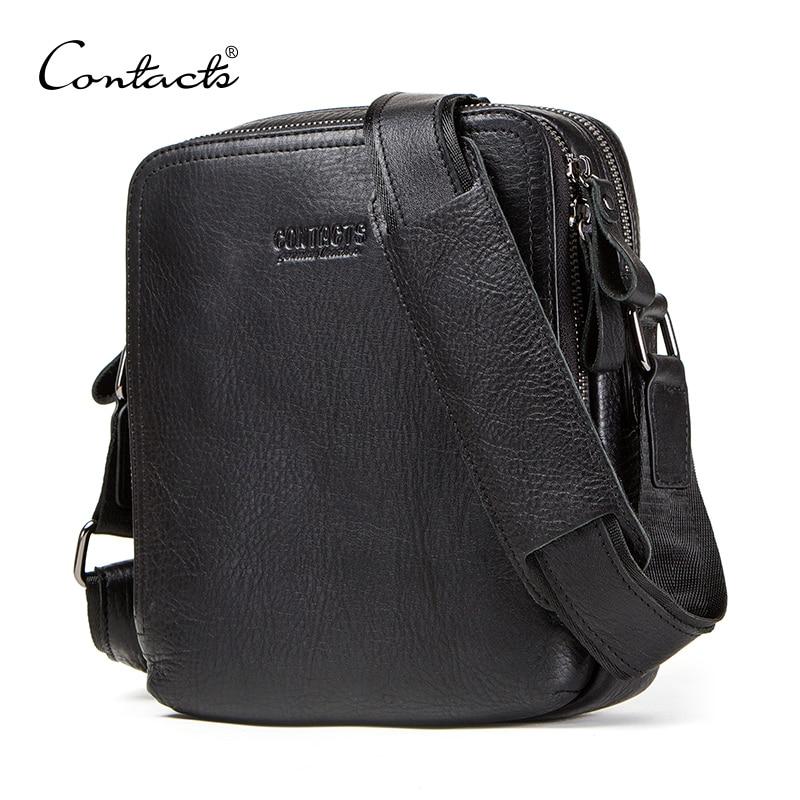 CONTACT'S Натуральная кожа Мужская сумка для ipad мужская сумка-мессенджер повседневная мужская сумка через плечо сумки для мужчин bolso hombre